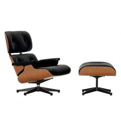 Lounge Chair-Kirschbaum-mit Hocker